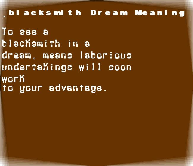 dream meanings blacksmith