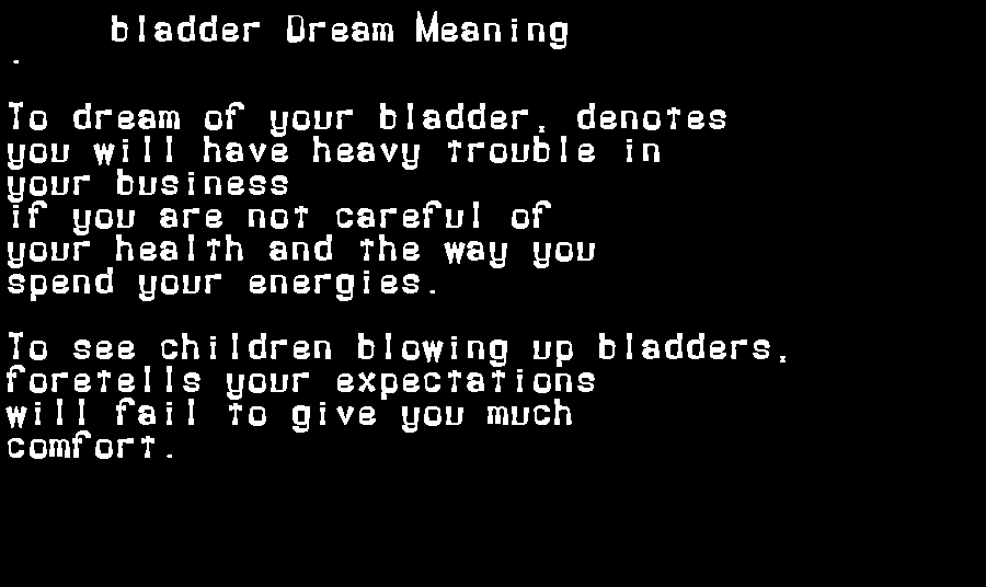 dream meanings bladder
