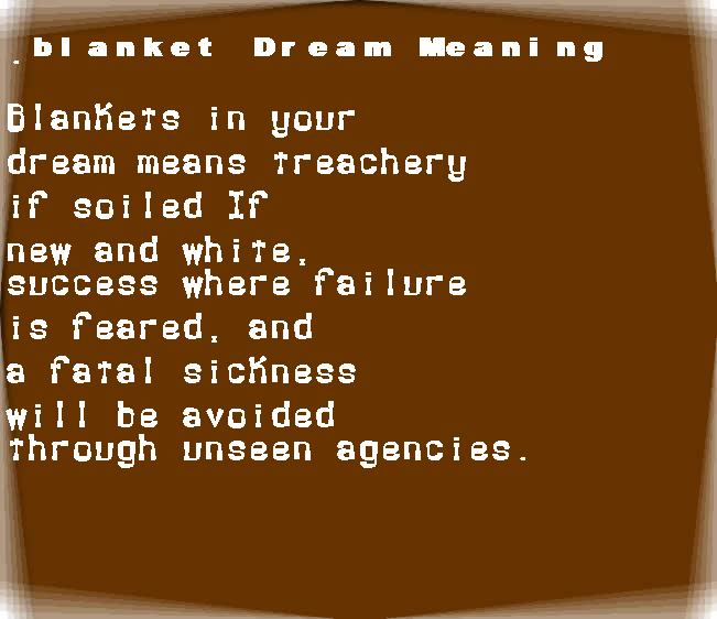 dream meanings blanket