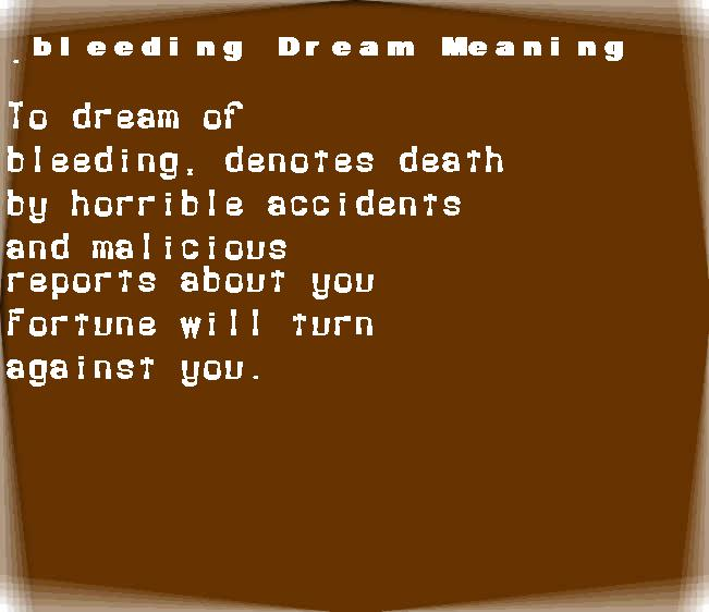 dream meanings bleeding