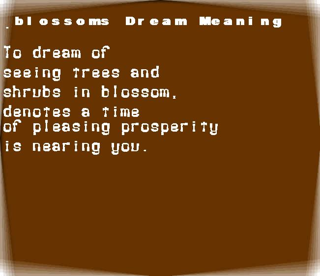 dream meanings blossoms