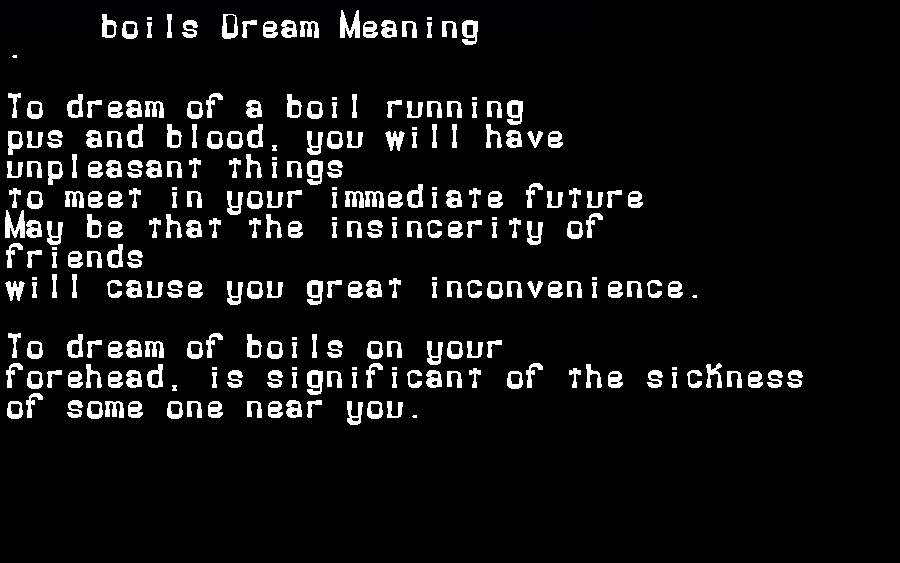 dream meanings boils
