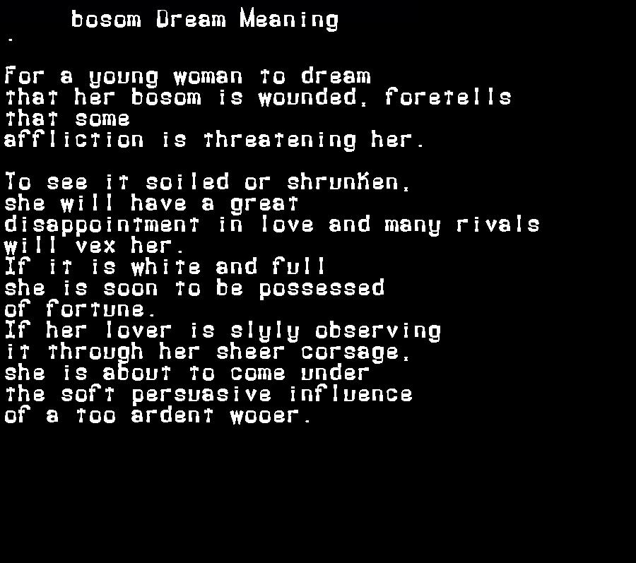 dream meanings bosom