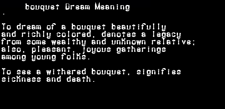 dream meanings bouquet