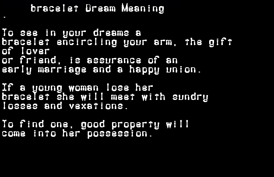 dream meanings bracelet