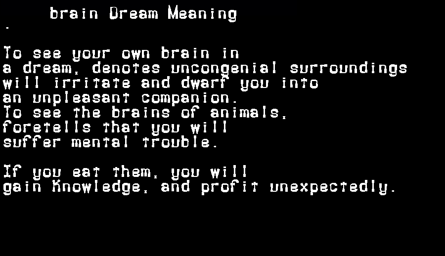 dream meanings brain