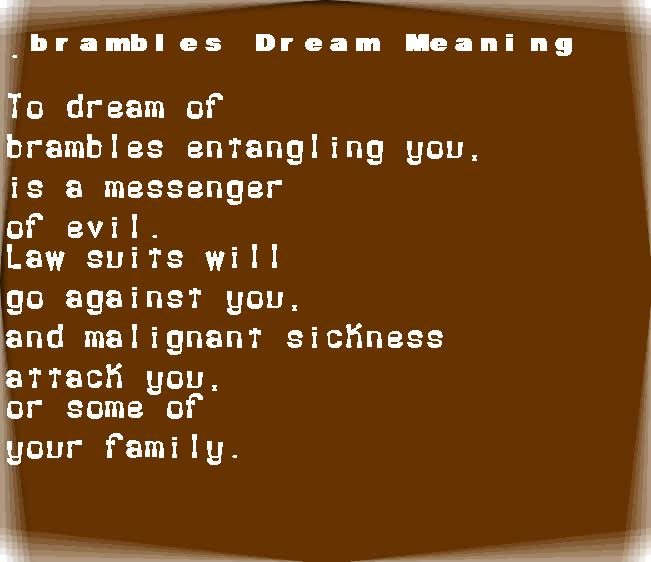 dream meanings brambles