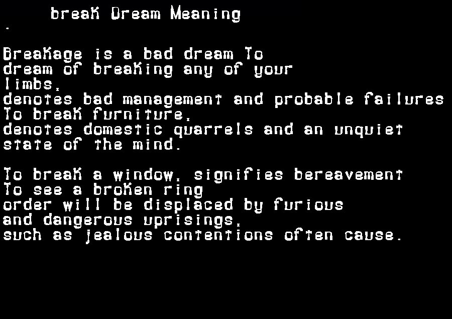 dream meanings break