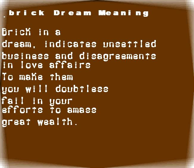 dream meanings brick
