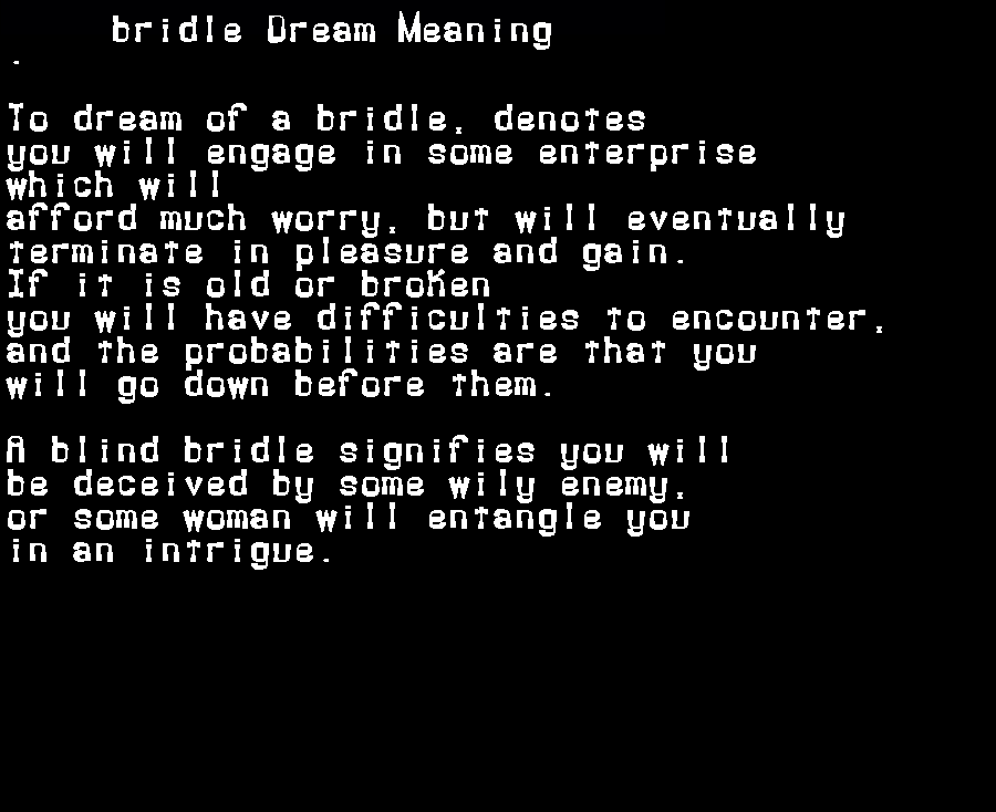 dream meanings bridle