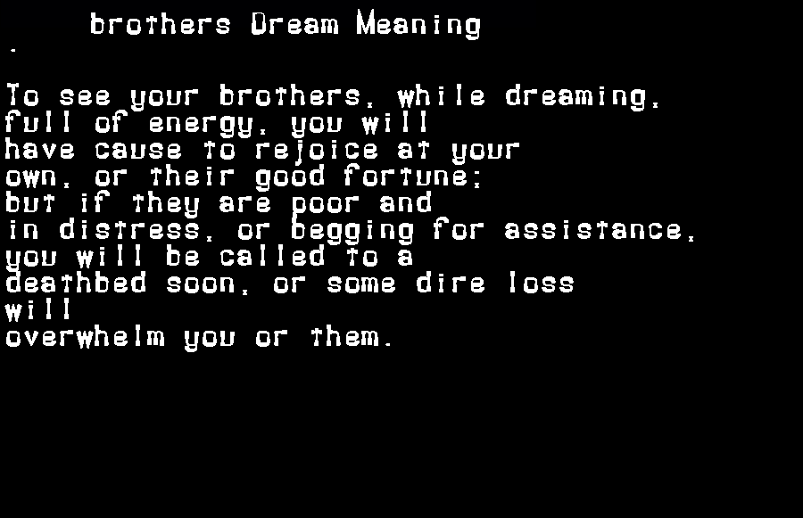 dream meanings brothers
