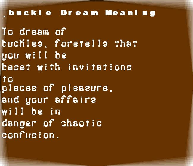 dream meanings buckle