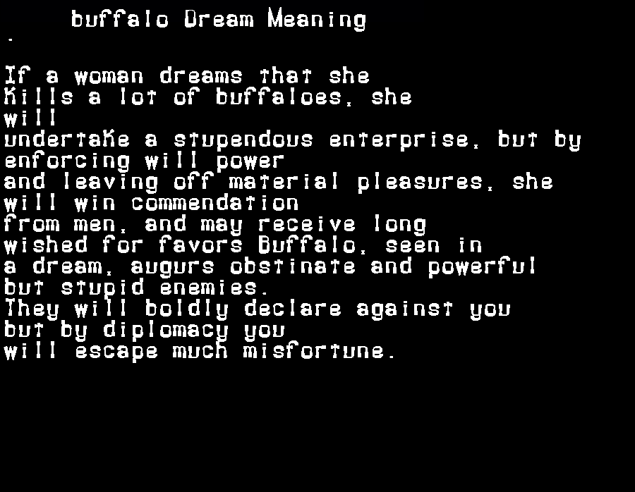 dream meanings buffalo