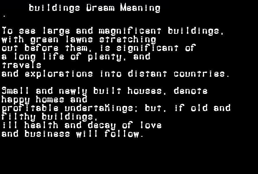 dream meanings buildings