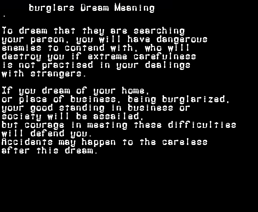 dream meanings burglars