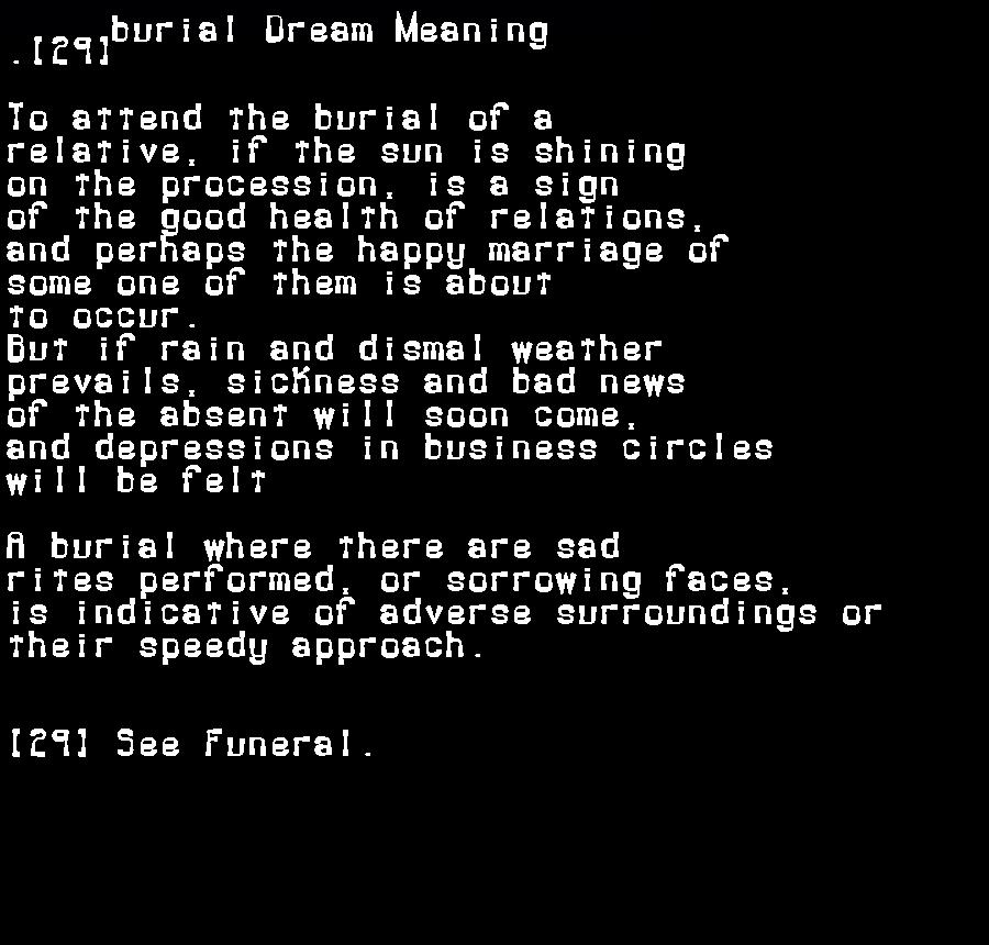 dream meanings burial