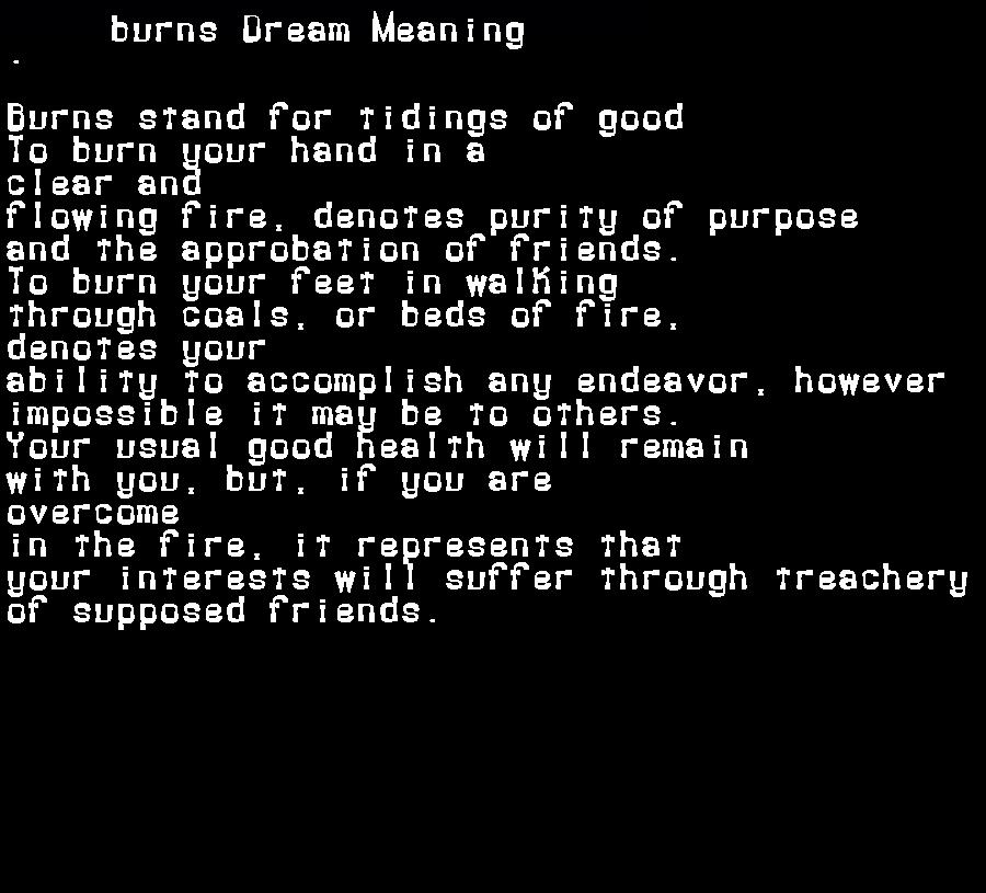 dream meanings burns