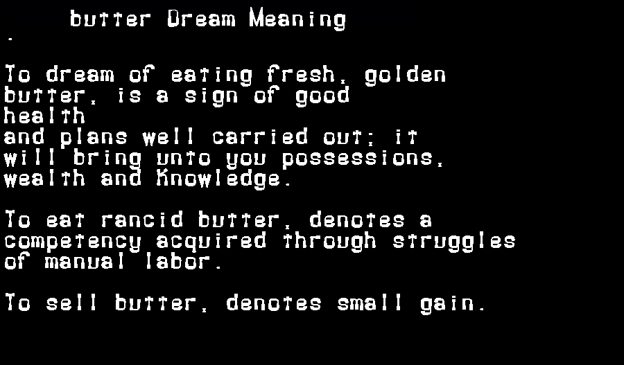 dream meanings butter