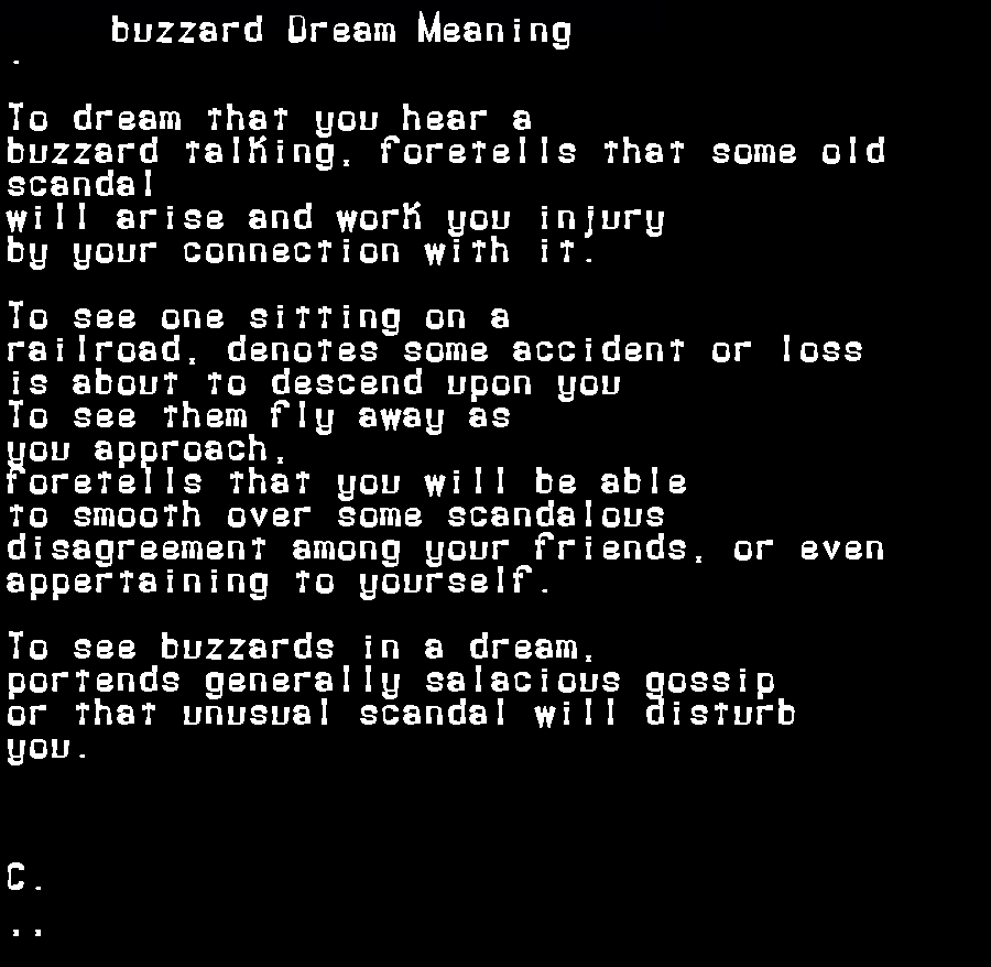 dream meanings buzzard