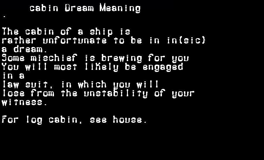 dream meanings cabin