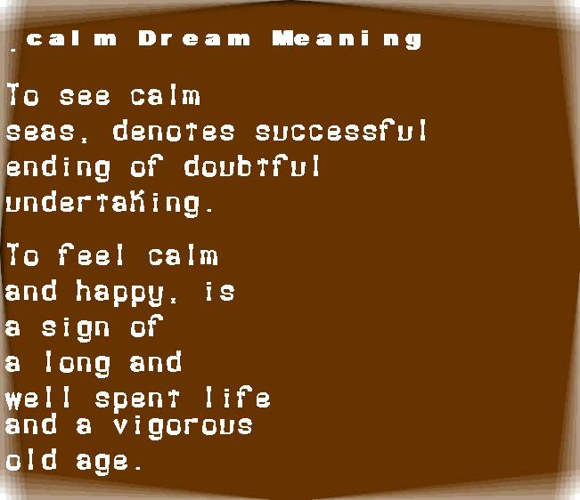 dream meanings calm