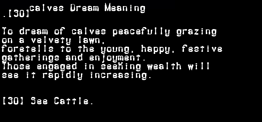 dream meanings calves