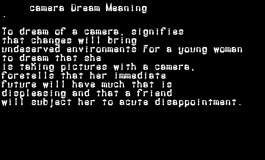 dream meanings camera