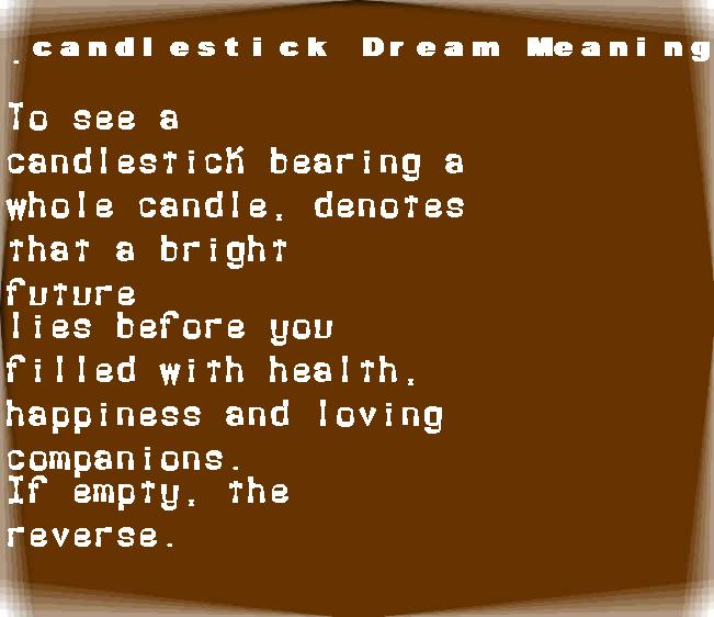 dream meanings candlestick