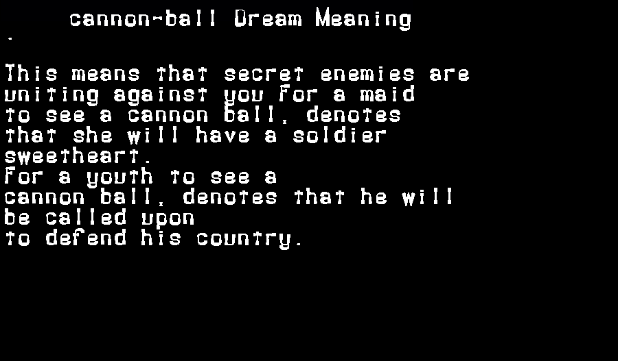 dream meanings cannon-ball