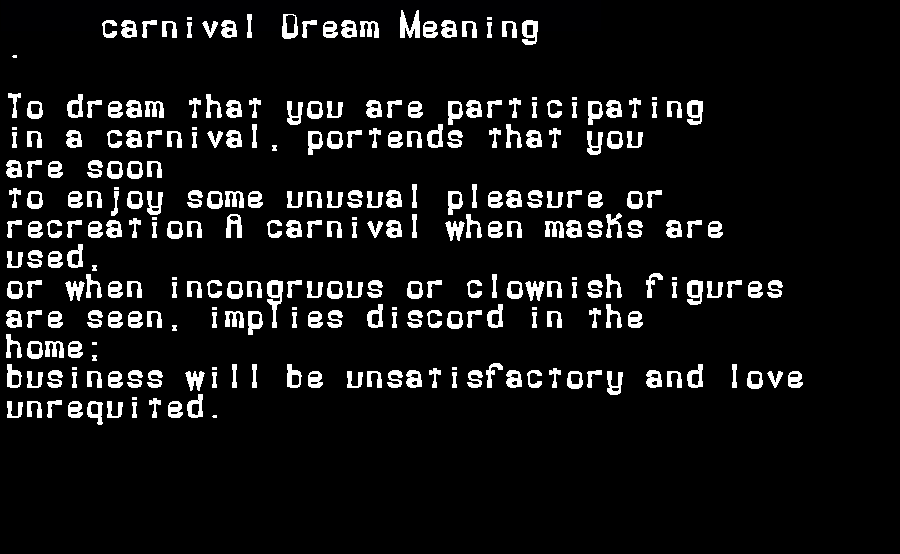 dream meanings carnival