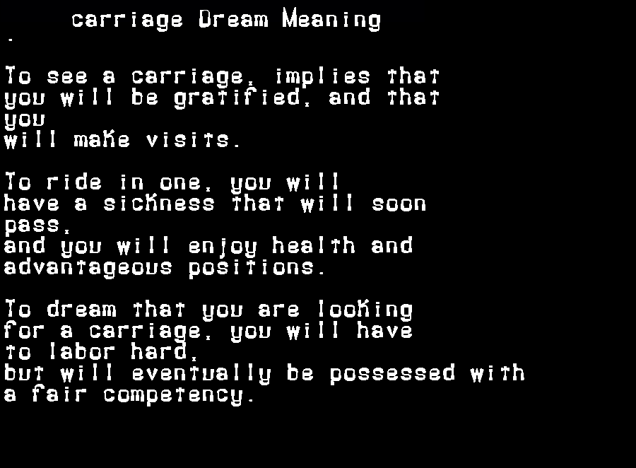 dream meanings carriage