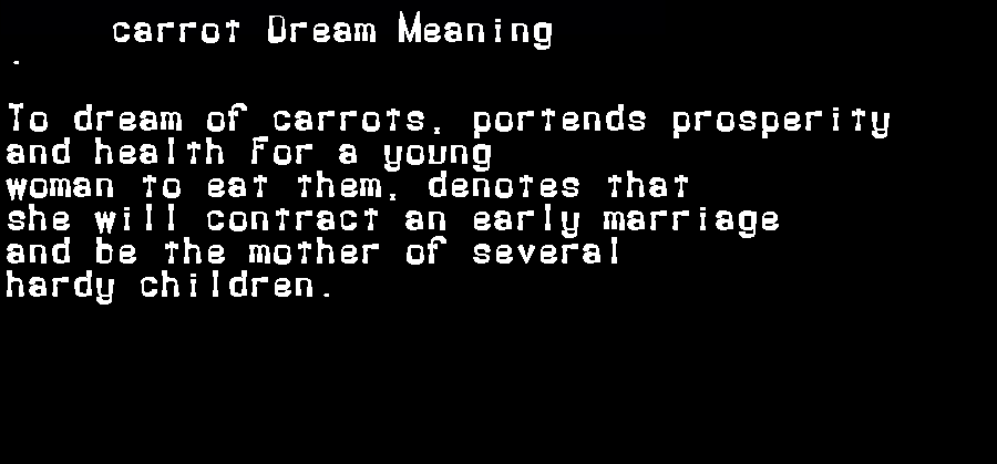 dream meanings carrot