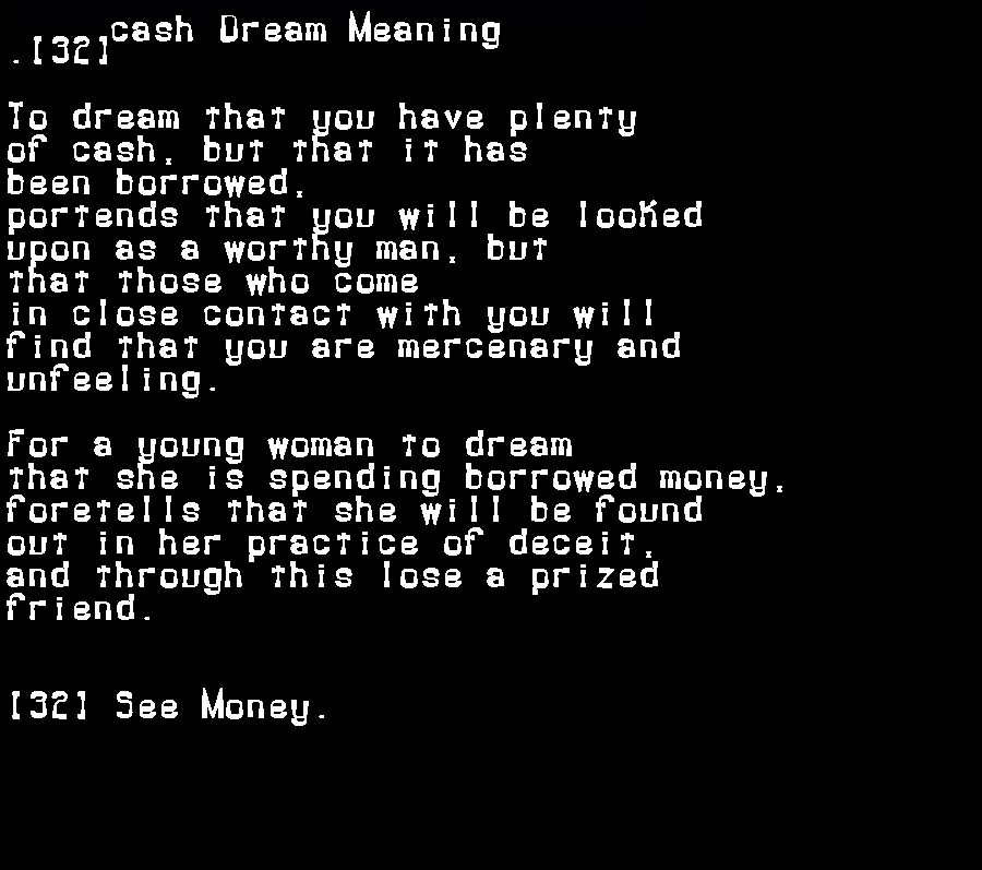 dream meanings cash