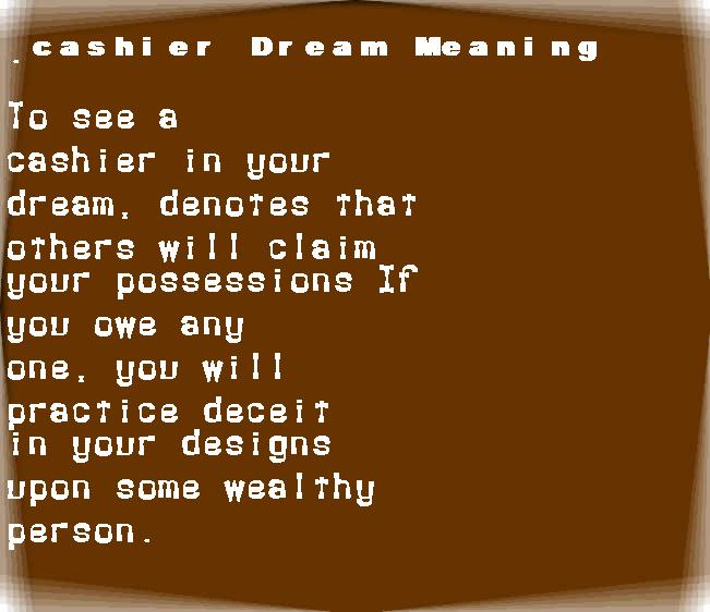 dream meanings cashier