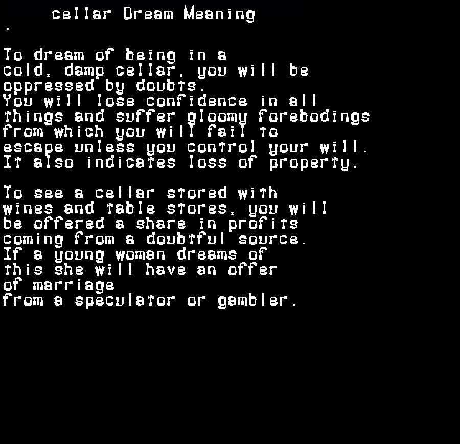 dream meanings cellar