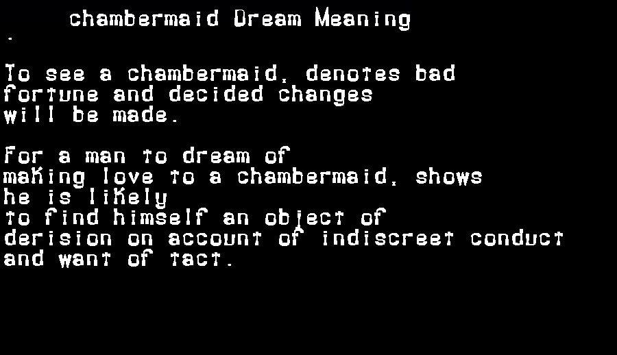 dream meanings chambermaid