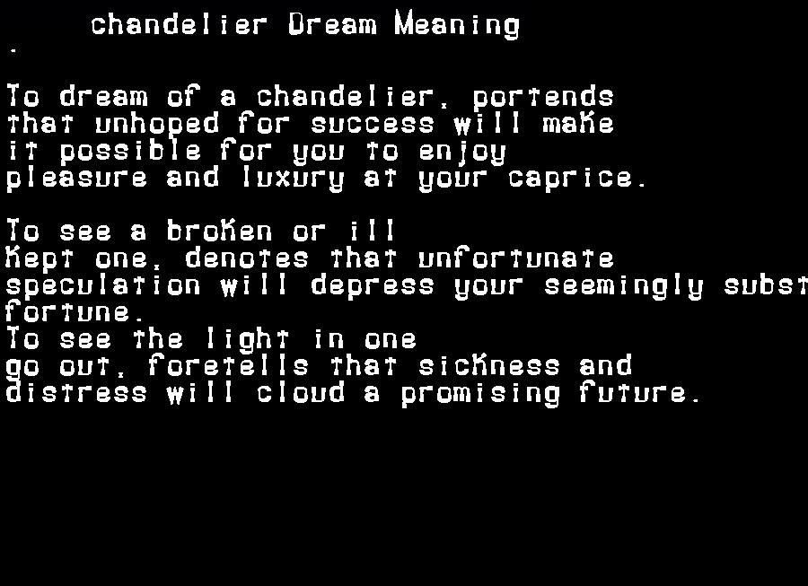 dream meanings chandelier