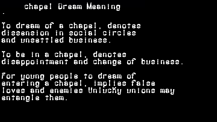 dream meanings chapel