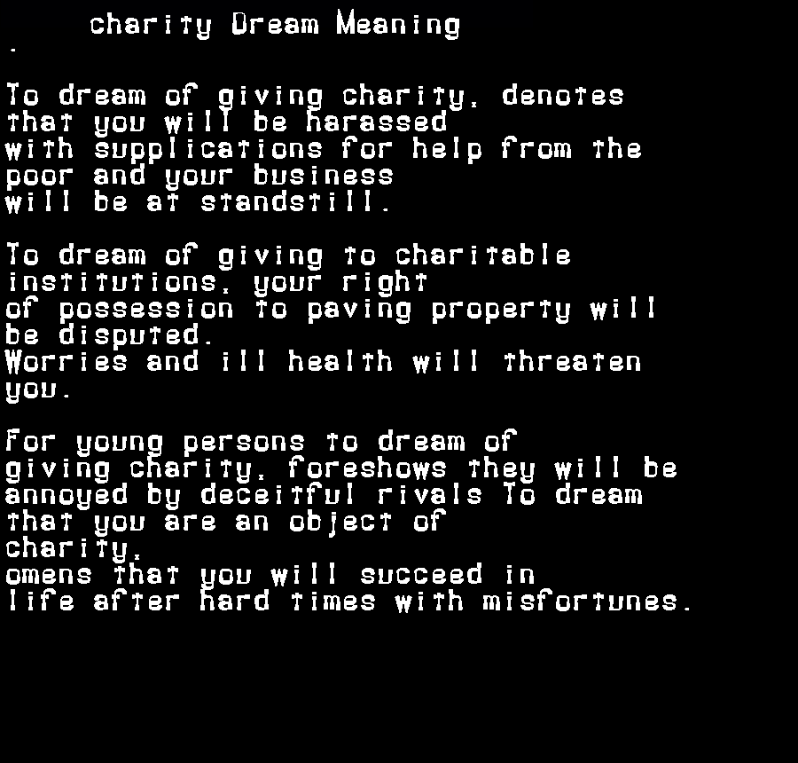 dream meanings charity