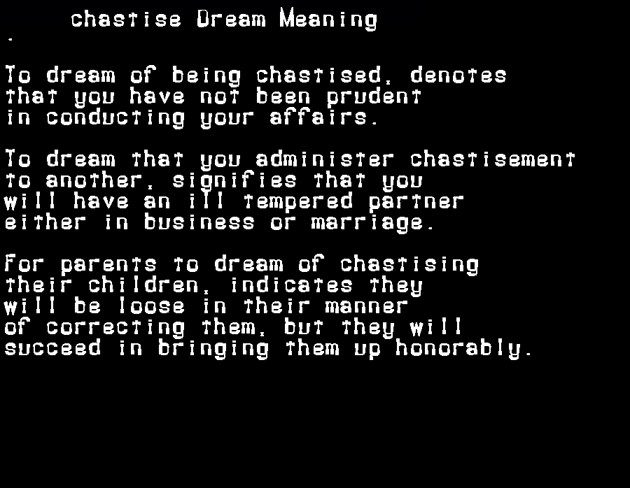 dream meanings chastise