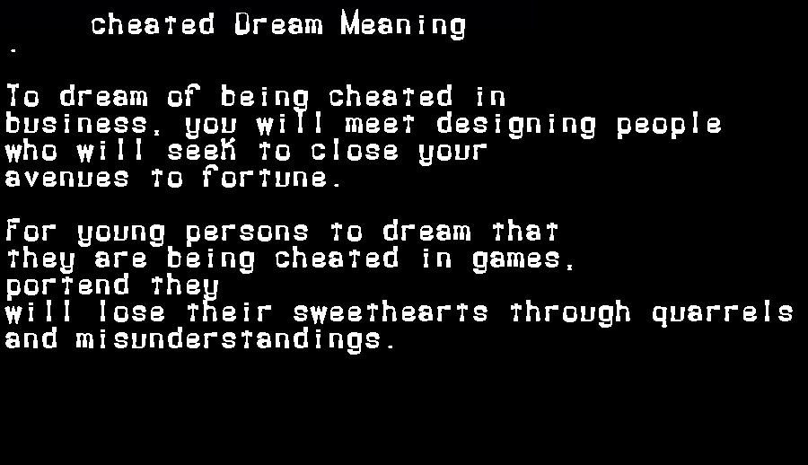 dream meanings cheated