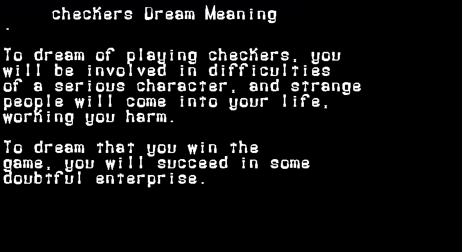 dream meanings checkers