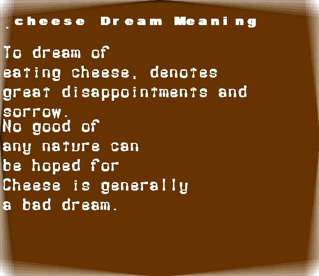 dream meanings cheese