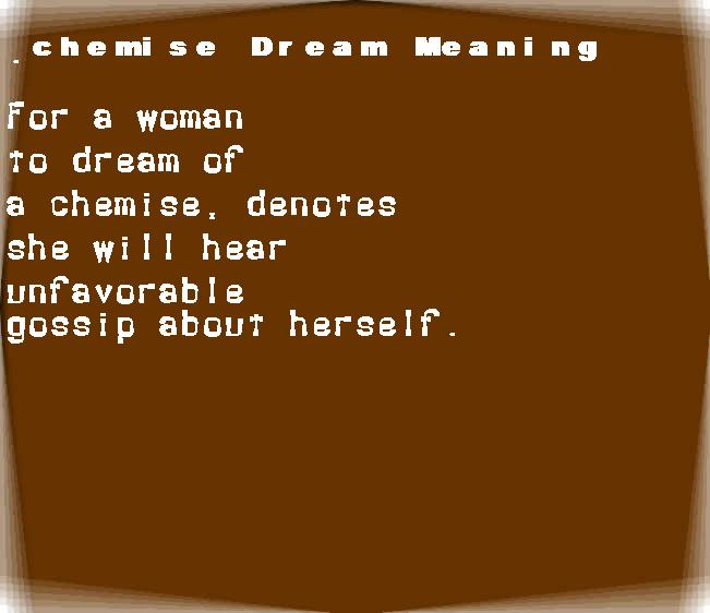 dream meanings chemise