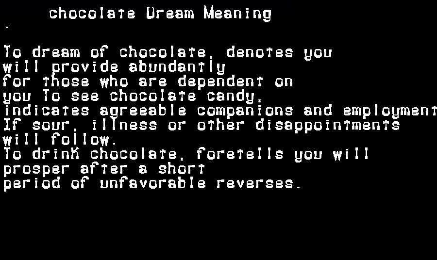 dream meanings chocolate