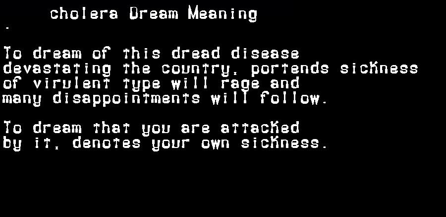 dream meanings cholera