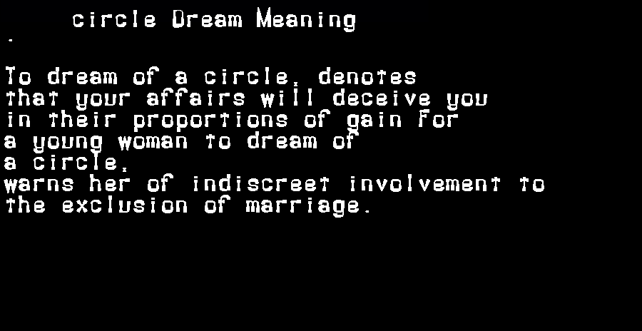 dream meanings circle