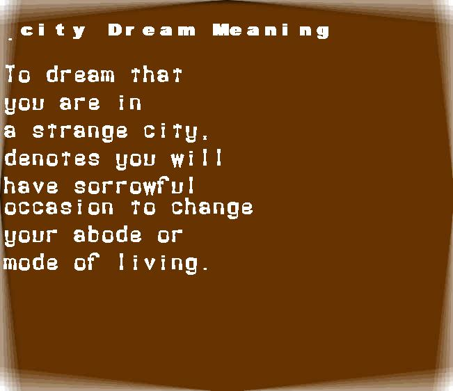 dream meanings city