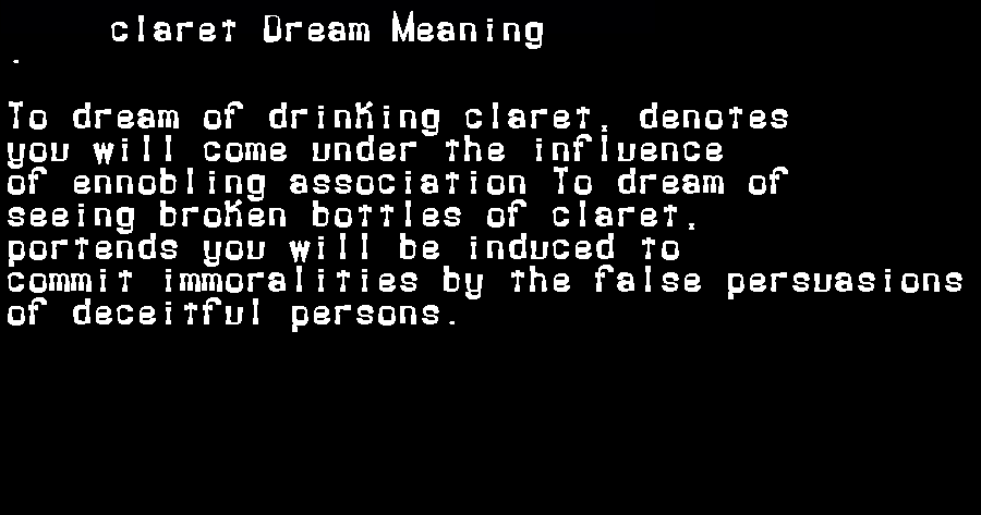 dream meanings claret