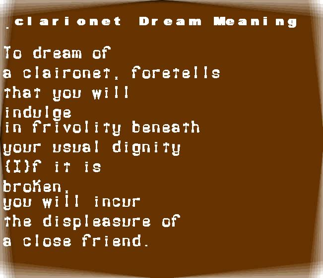 dream meanings clarionet